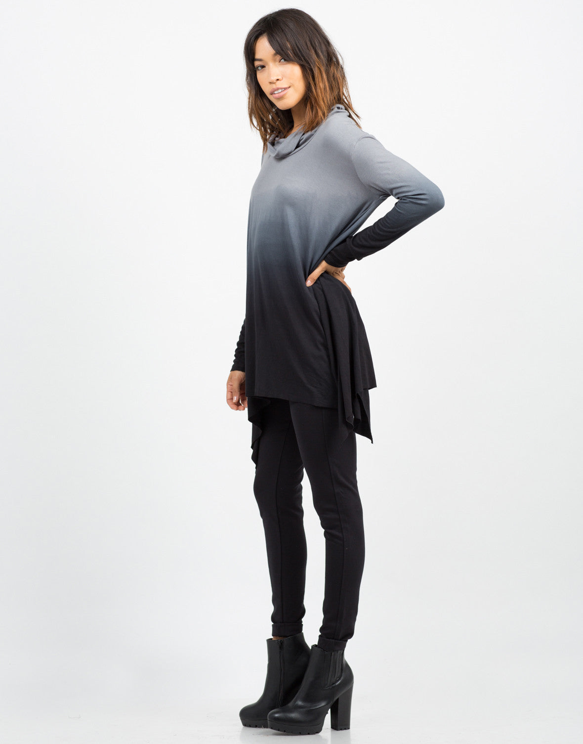 Side View of Oversized Ombre Top