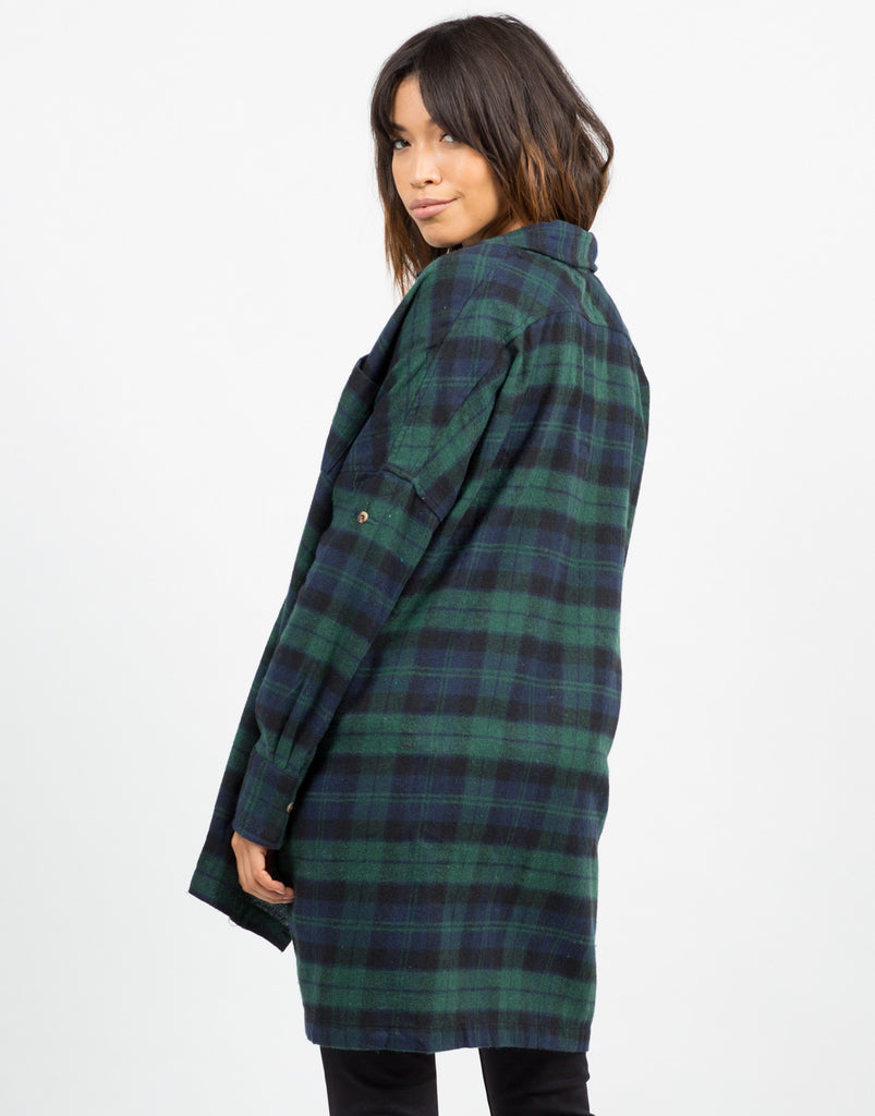 Oversized Plaid Button Up Top - 2020AVE