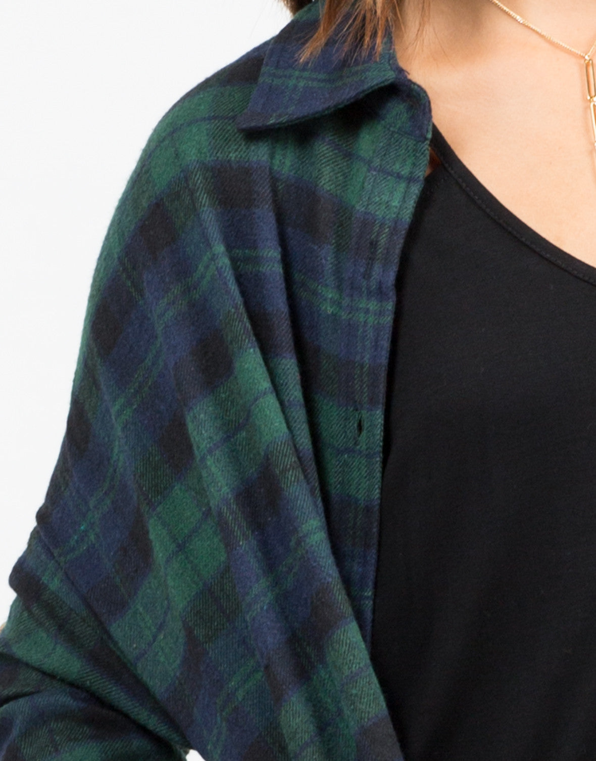 Detail of Oversized Plaid Button Up Top