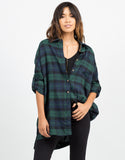 Front View of Oversized Plaid Button Up Top