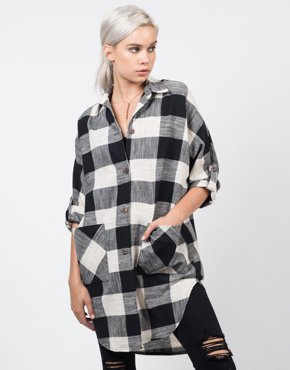 Front View of Oversized Plaid Jacket