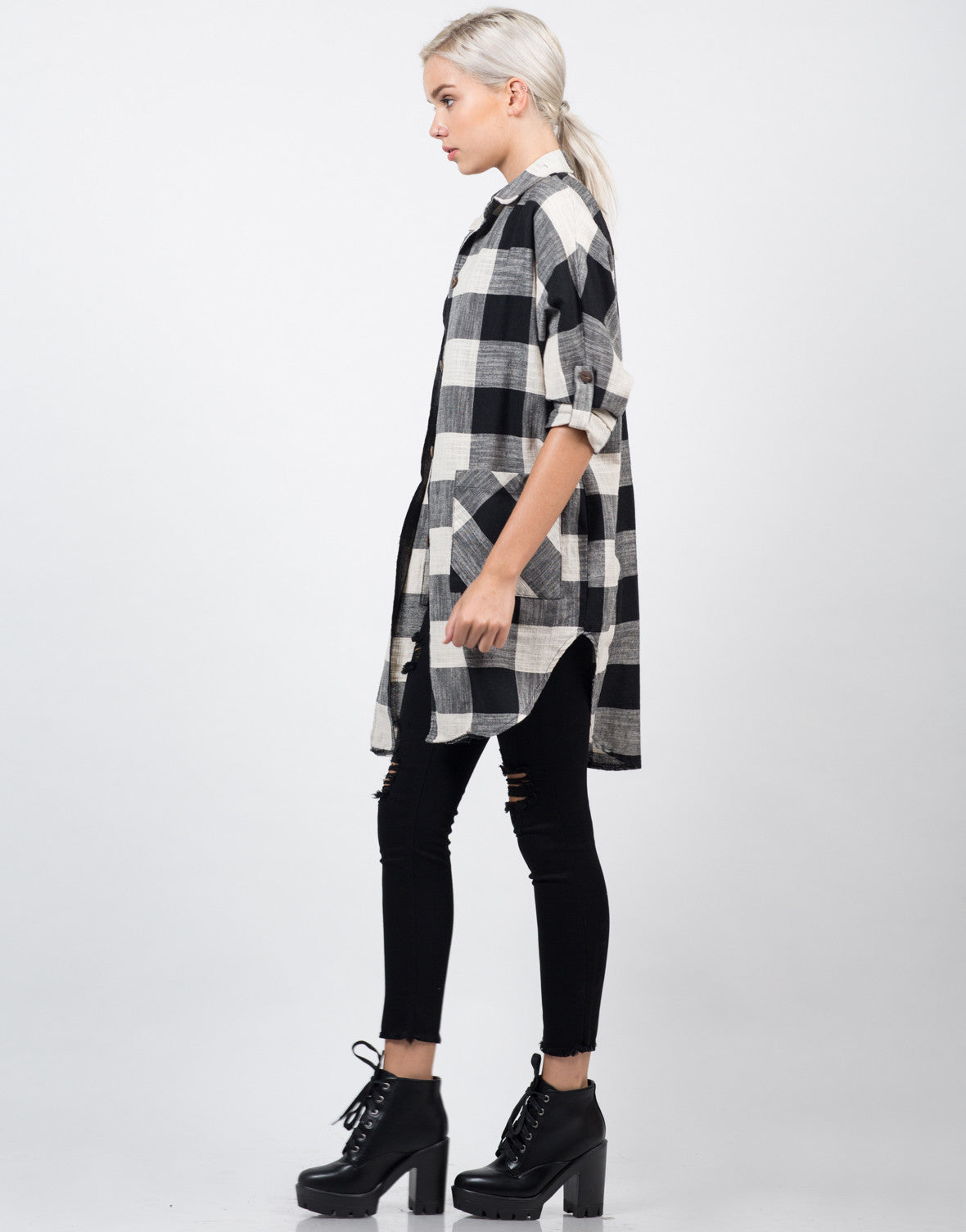 Side View of Oversized Plaid Jacket