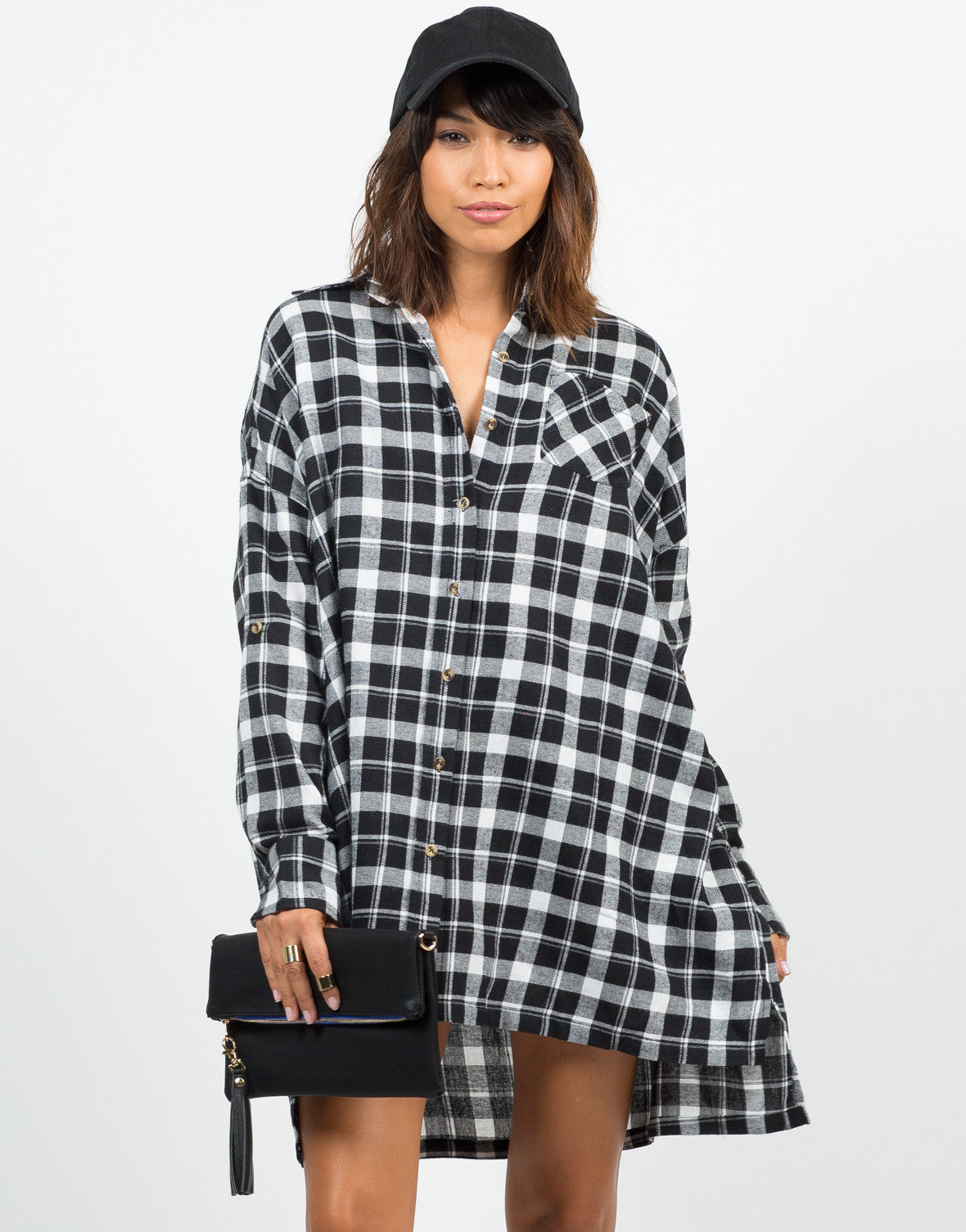 Front View of Oversized Plaid Shirt Dress