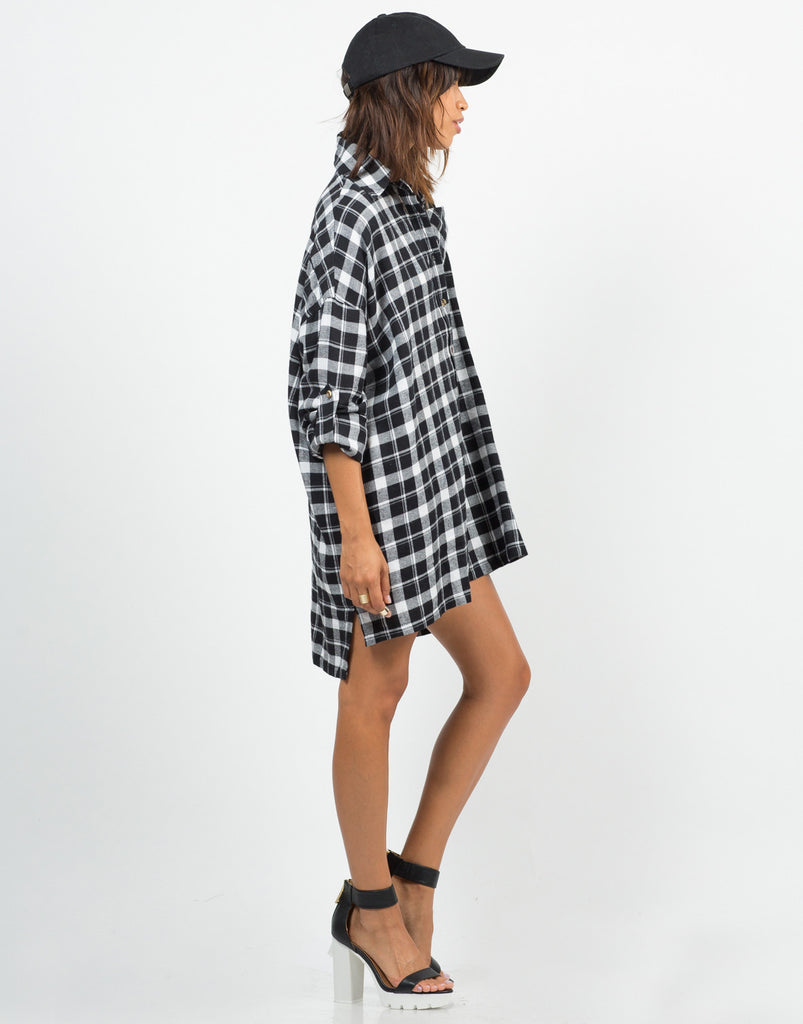 Oversized Plaid Shirt Dress - 2020AVE