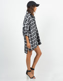 Side View of Oversized Plaid Shirt Dress
