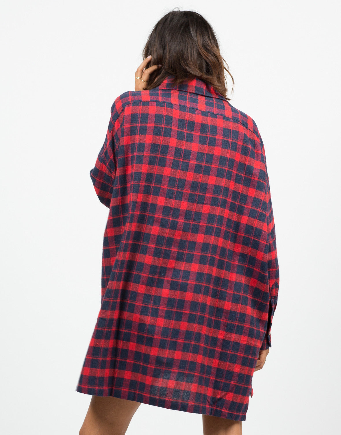 Back View of Oversized Plaid Shirt Dress
