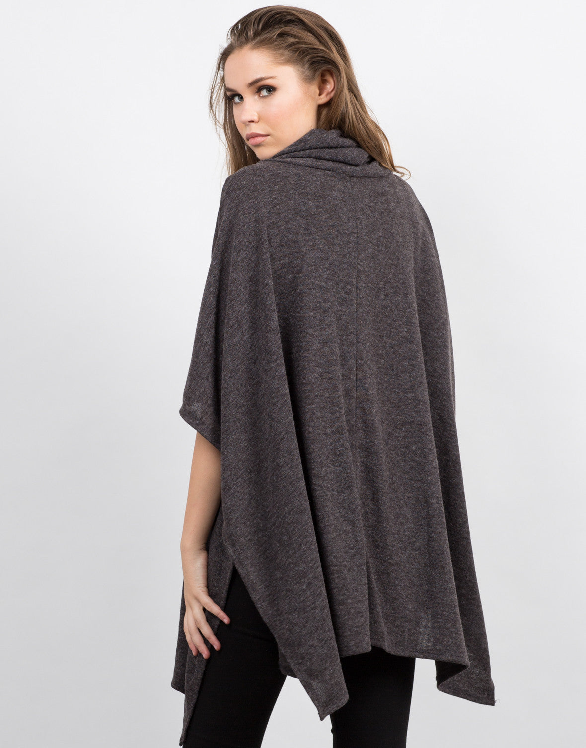 Back View of Oversized Poncho Top