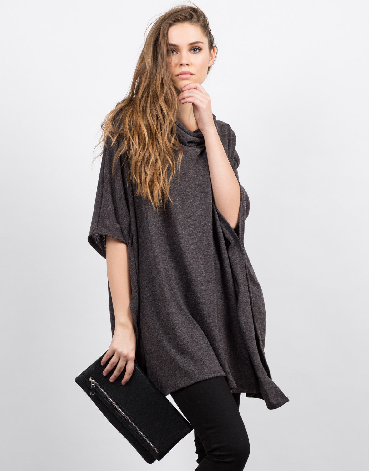 Front View of Oversized Poncho Top