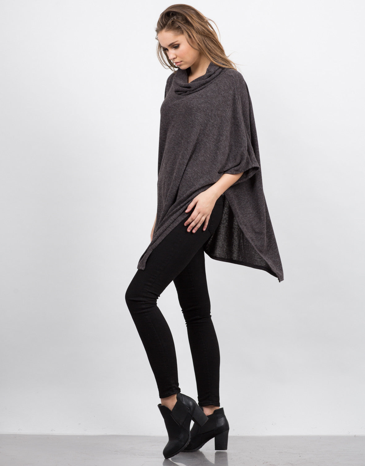 Side View of Oversized Poncho Top