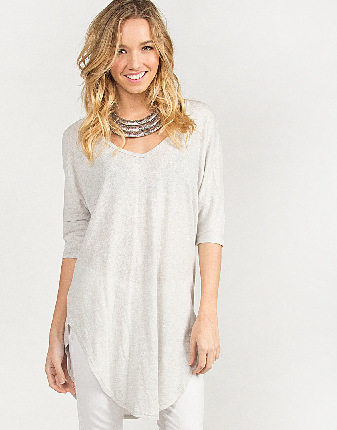 Oversized Scoop V-Neck Top