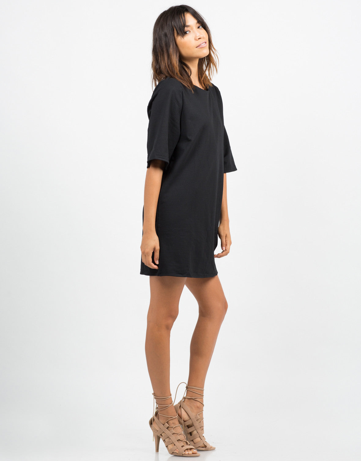 Side View of Oversized Shift Dress