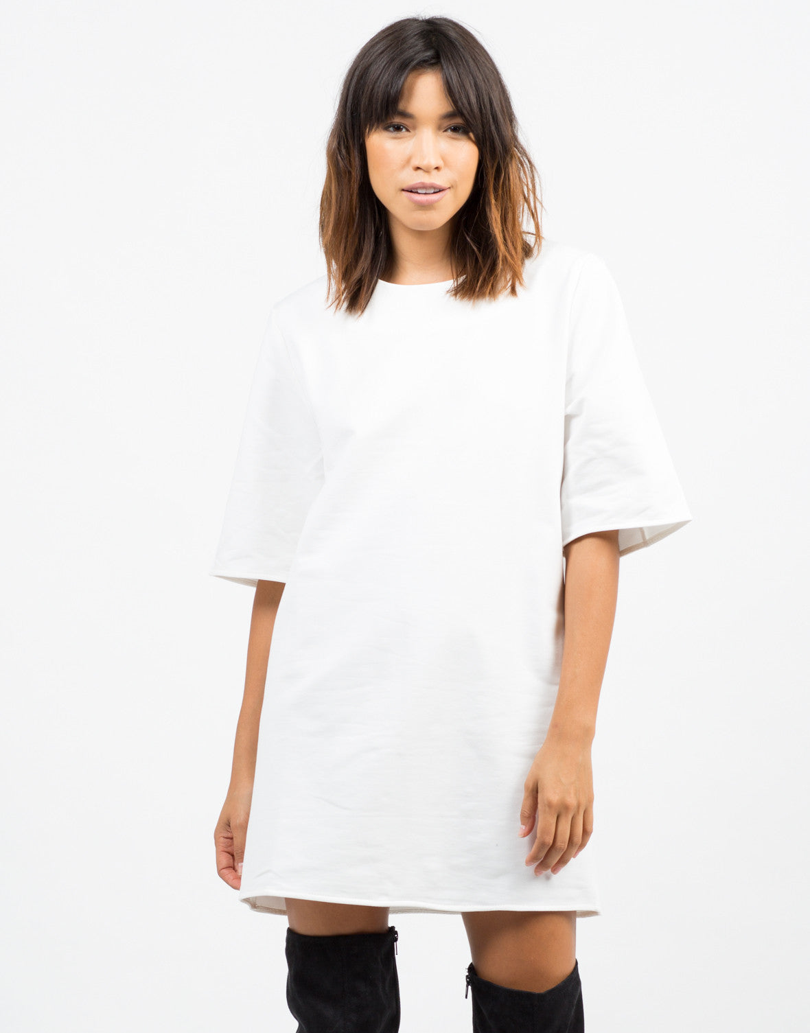Front View of Oversized Shift Dress