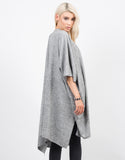 Back View of Oversized Soft Poncho Cardigan