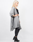 Side View of Oversized Soft Poncho Cardigan