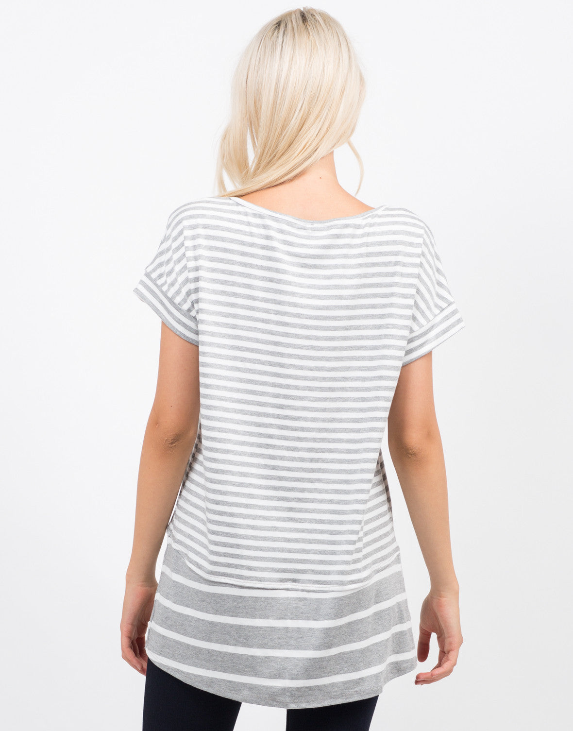 Back View of Oversized Striped Tee