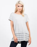 Front View of Oversized Striped Tee
