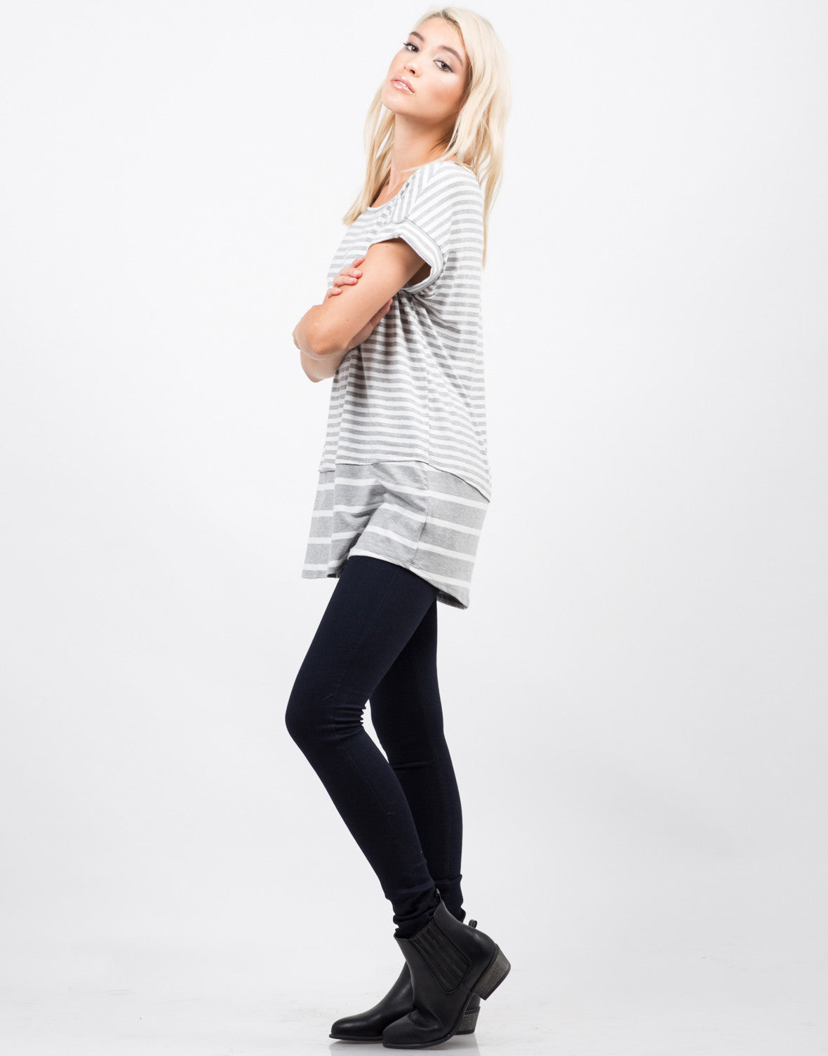 Side View of Oversized Striped Tee