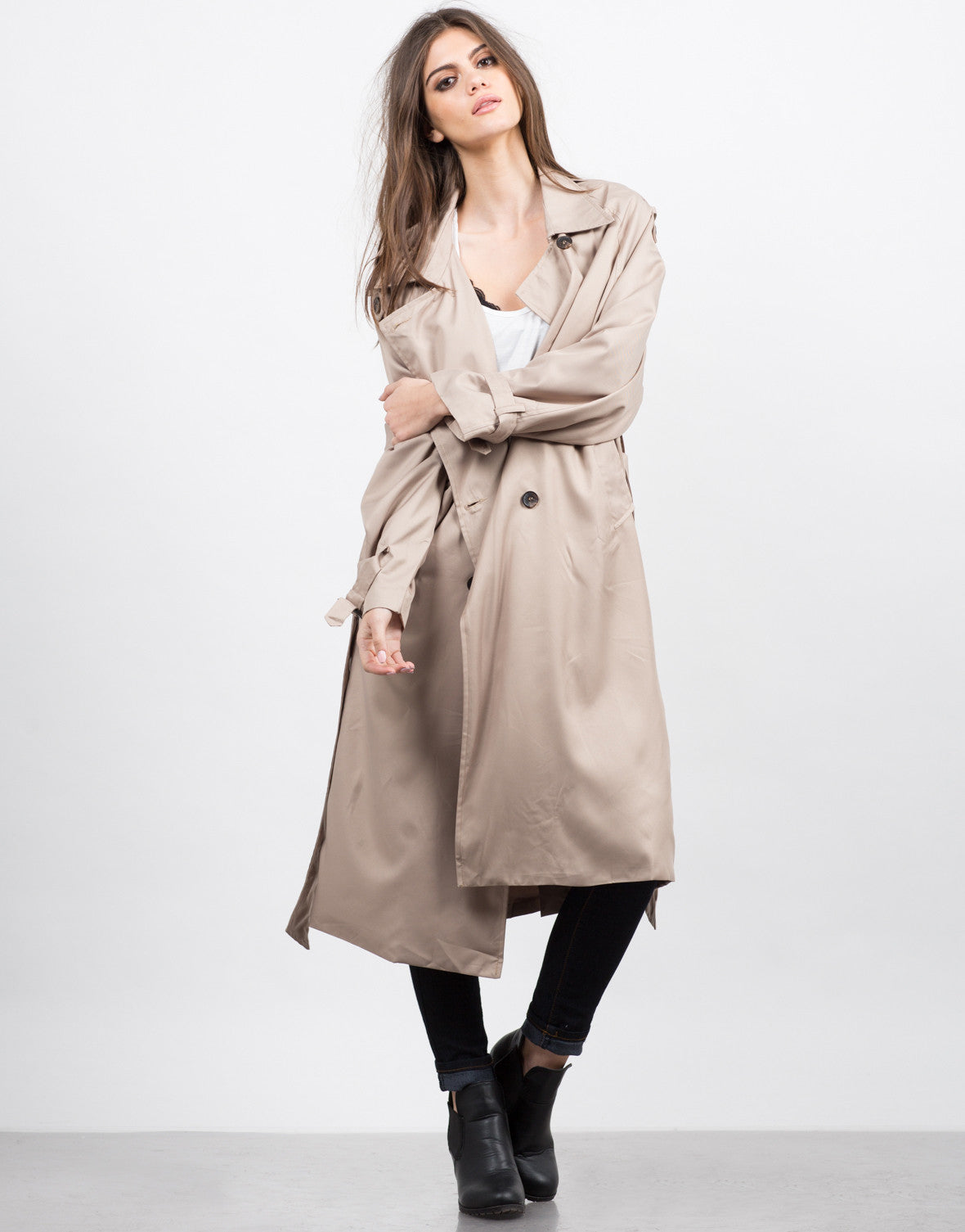 Front View of Oversized Trench Coat