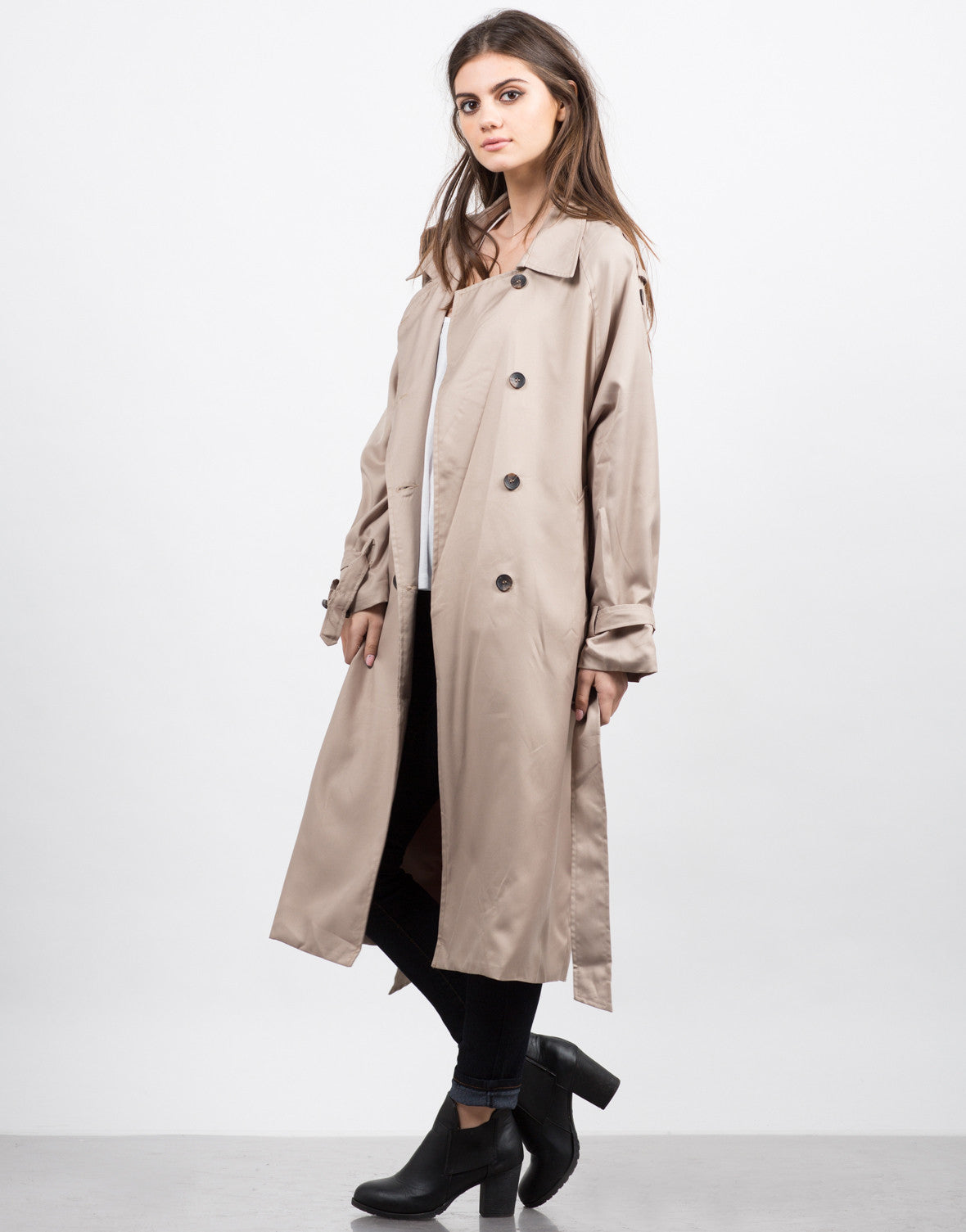 Side View of Oversized Trench Coat