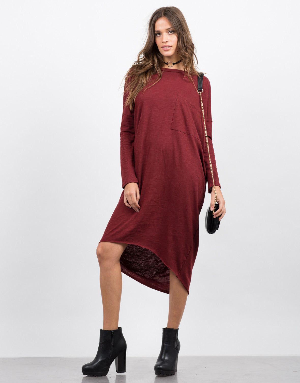Front View of Oversized T-Shirt Dress