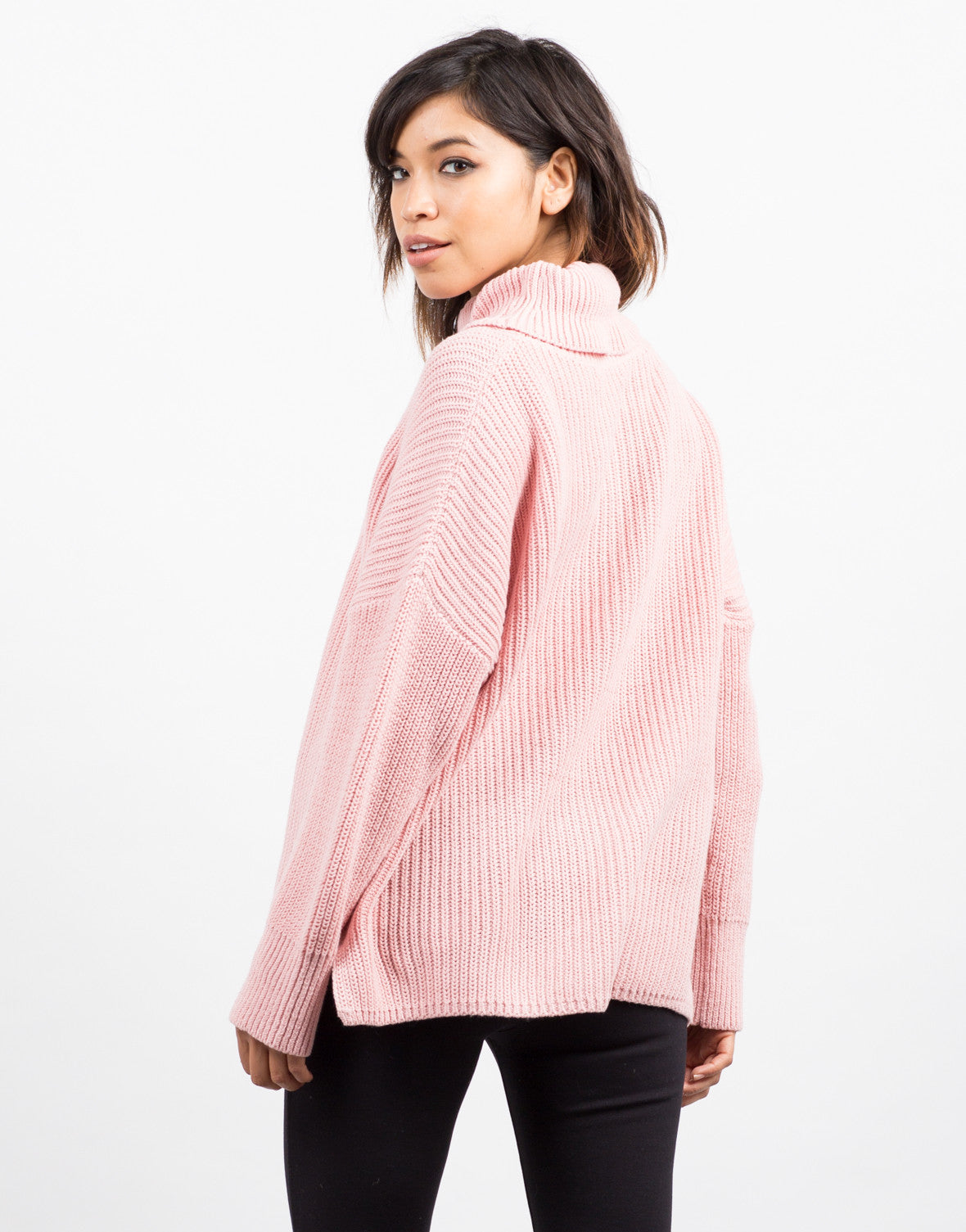 Back View of Oversized Turtleneck Sweater