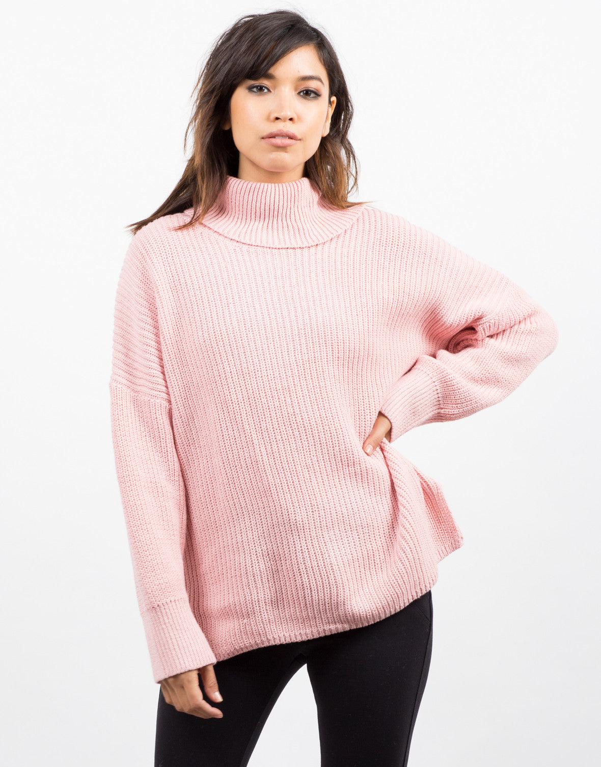 Front View of Oversized Turtleneck Sweater