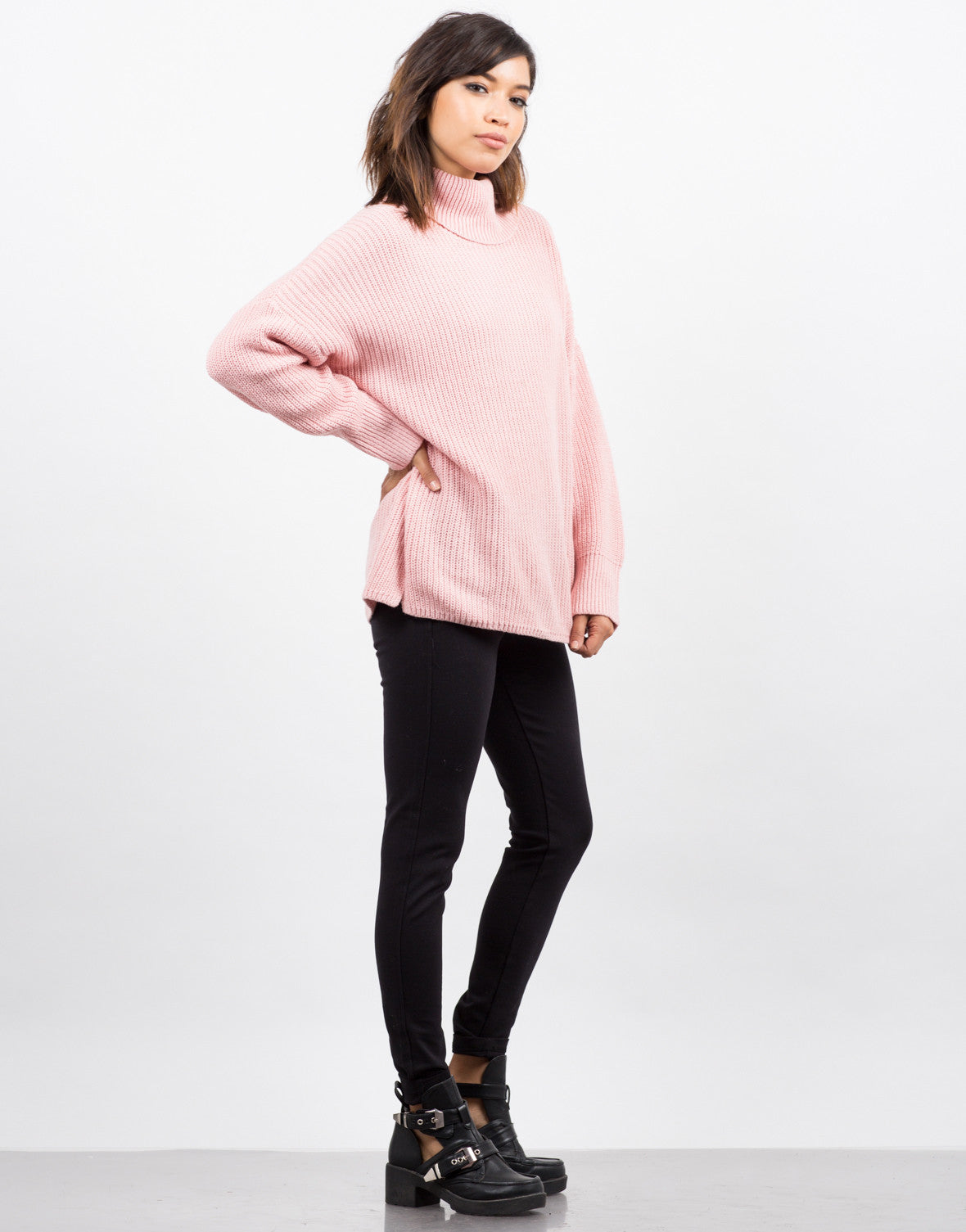 Side View of Oversized Turtleneck Sweater
