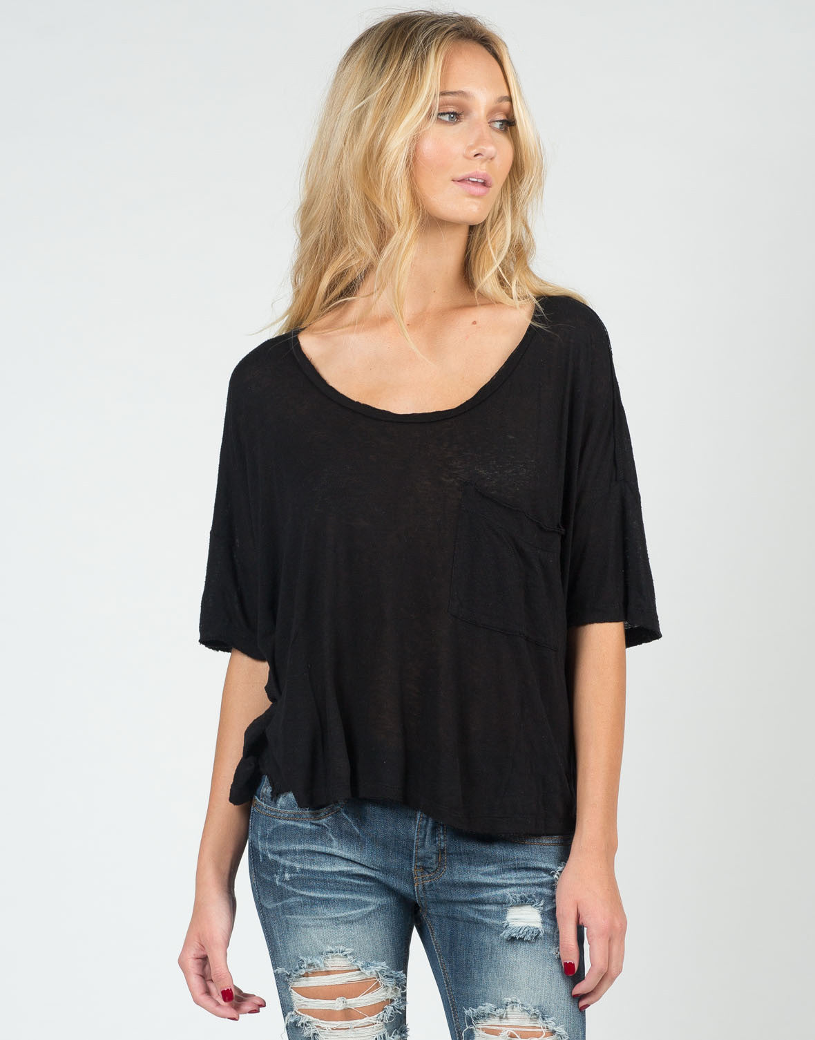 Front View of Oversized Vintage Dolman Tee