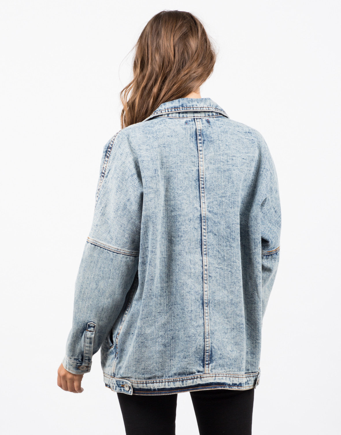 Back View of Oversized Vintage Washed Denim Jacket