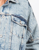 Detail of Oversized Vintage Washed Denim Jacket