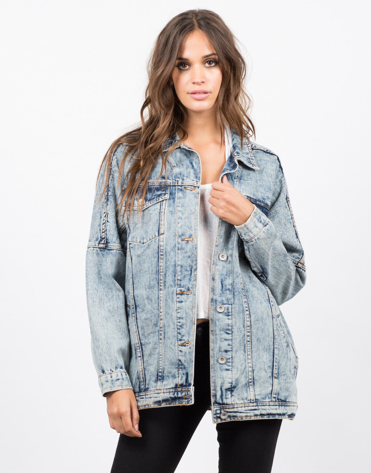 Front View of Oversized Vintage Washed Denim Jacket