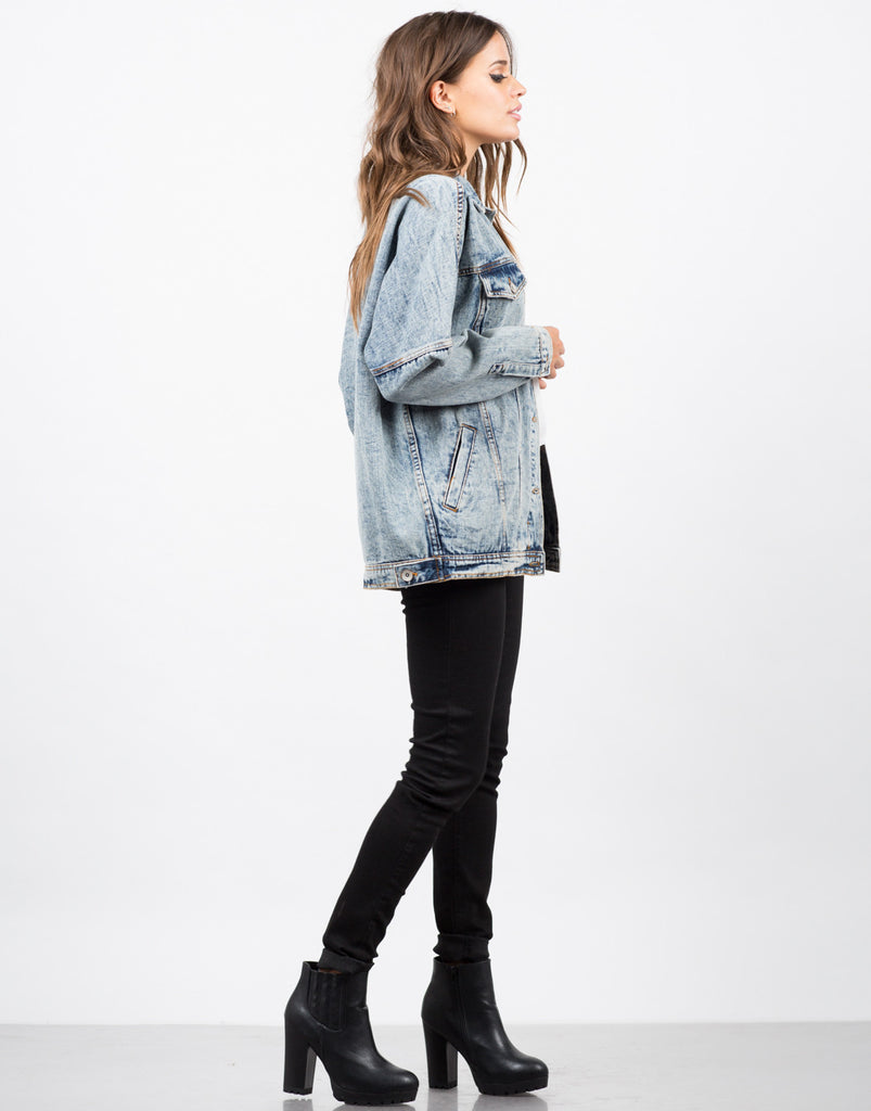 Oversized Vintage Washed Denim Jacket - 2020AVE