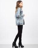 Side View of Oversized Vintage Washed Denim Jacket