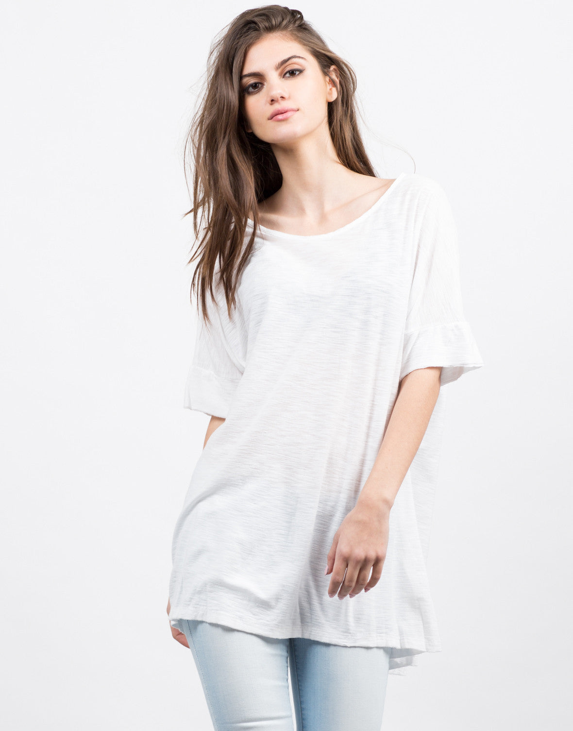 Front View of Oversized White Tee
