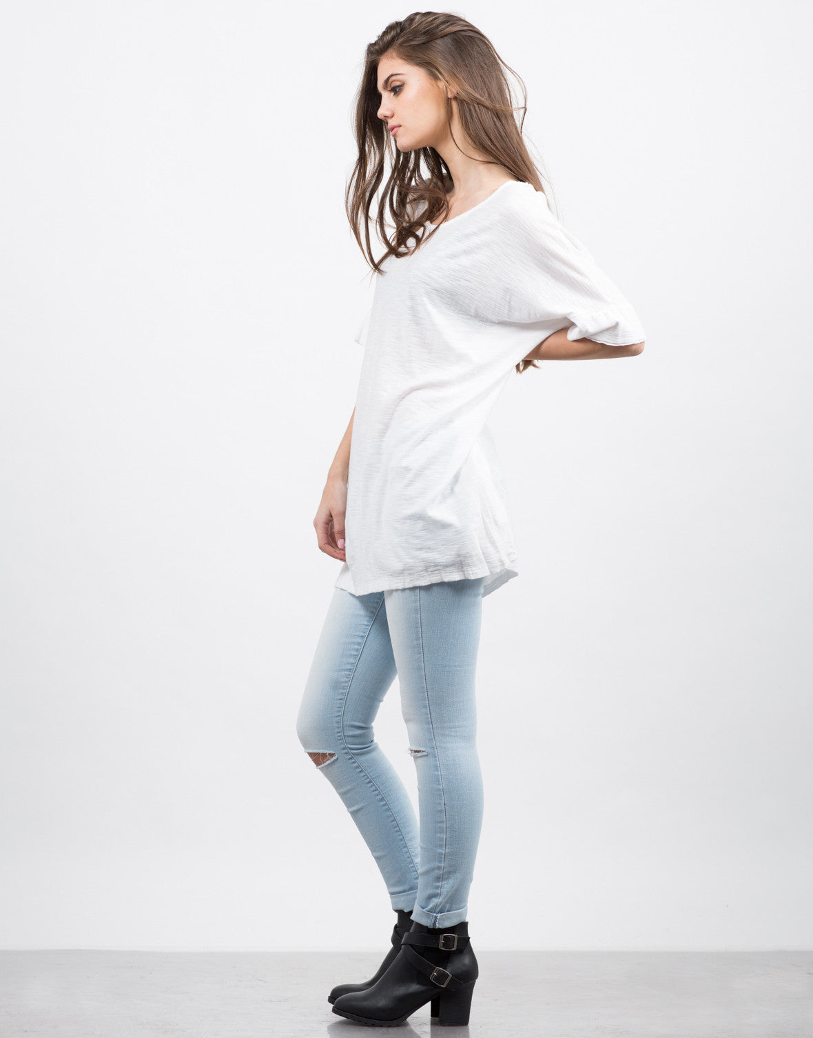 Side View of Oversized White Tee