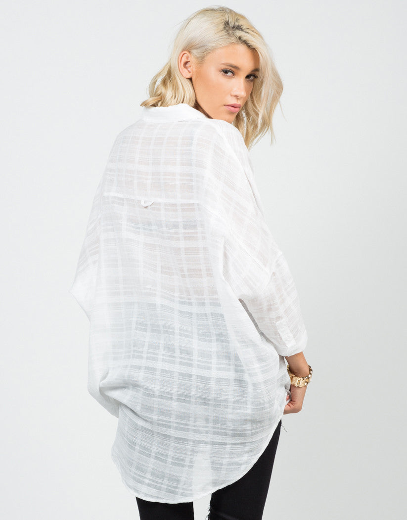 Back View of Oversized Woven Shirt