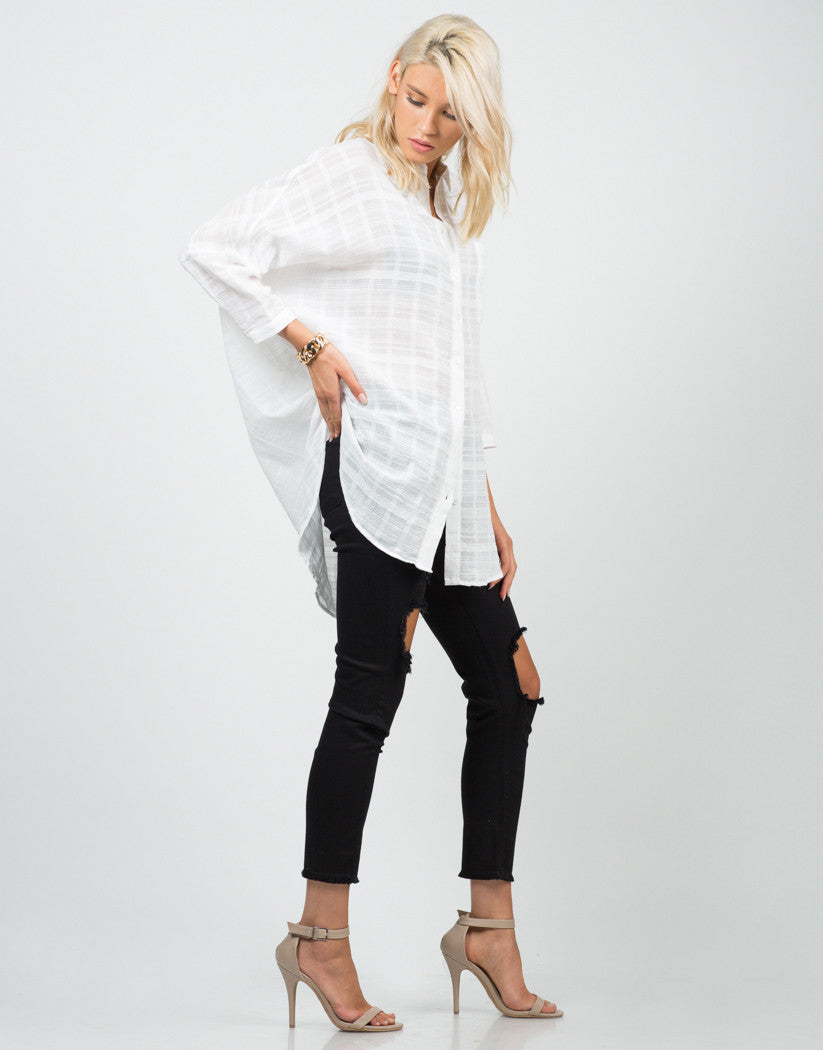 Side View of Oversized Woven Shirt