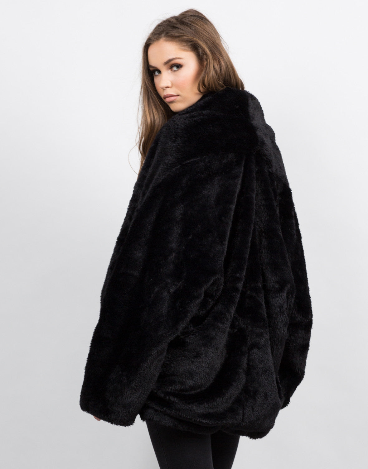 Side View of Oversize Glam Fur Coat