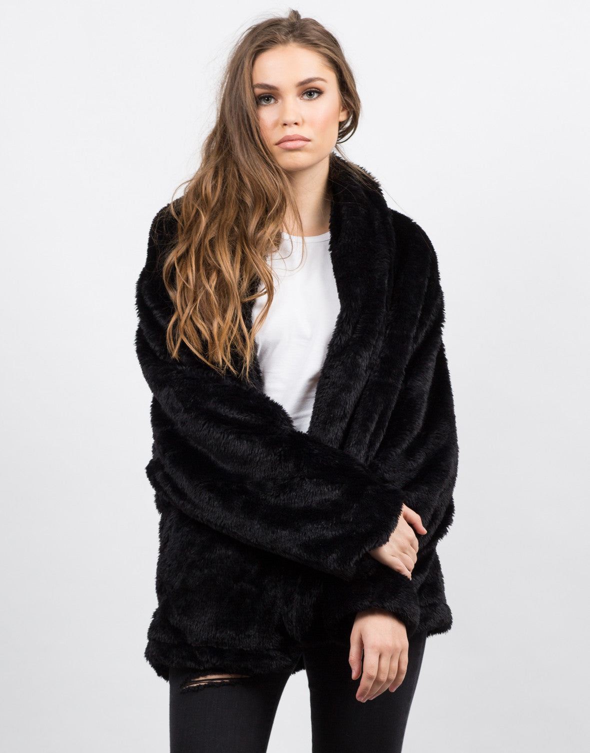 Front View of Oversize Glam Fur Coat