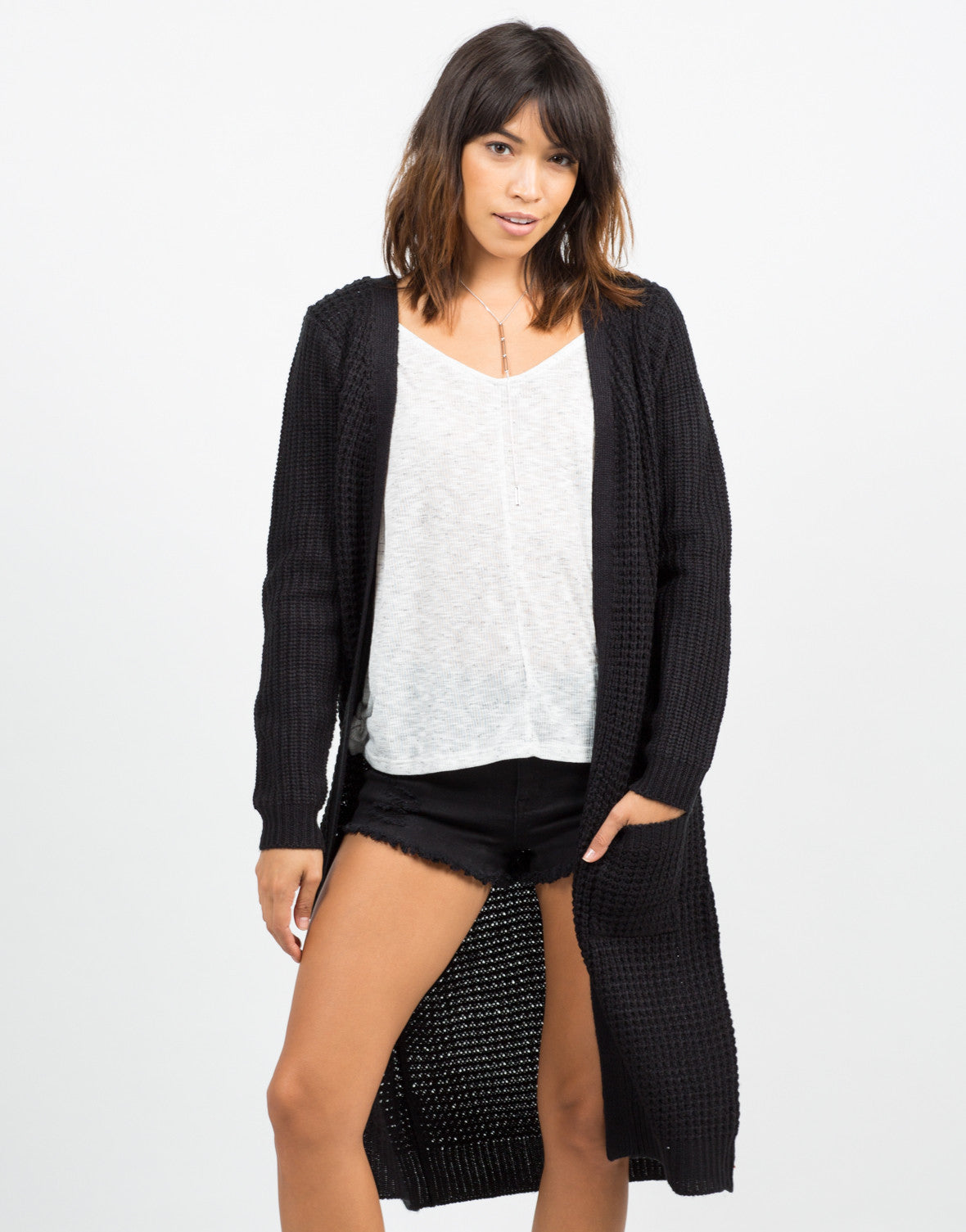 Front View of Oversize Knit Cardigan
