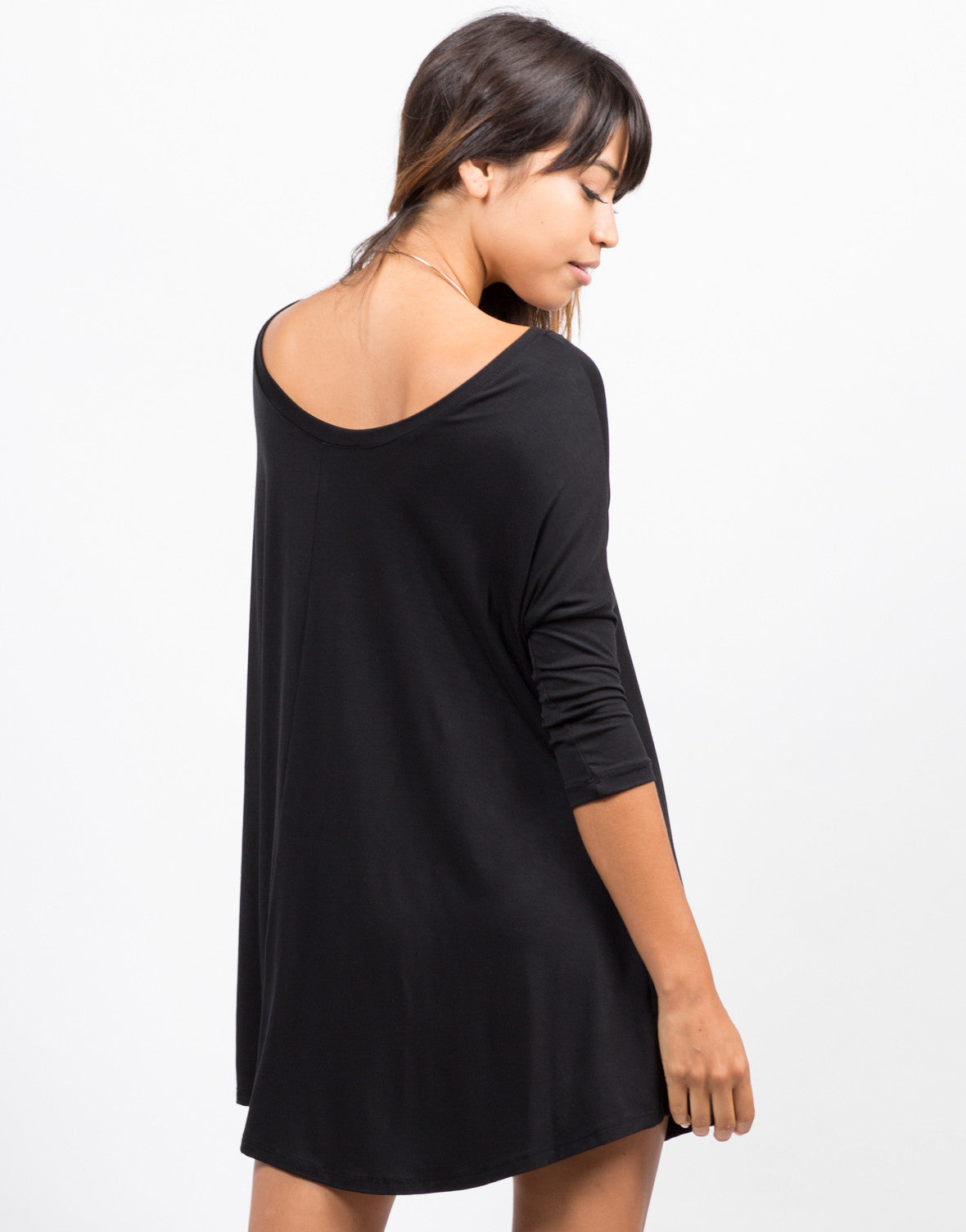 Back View of Oversize T-Shirt Dress