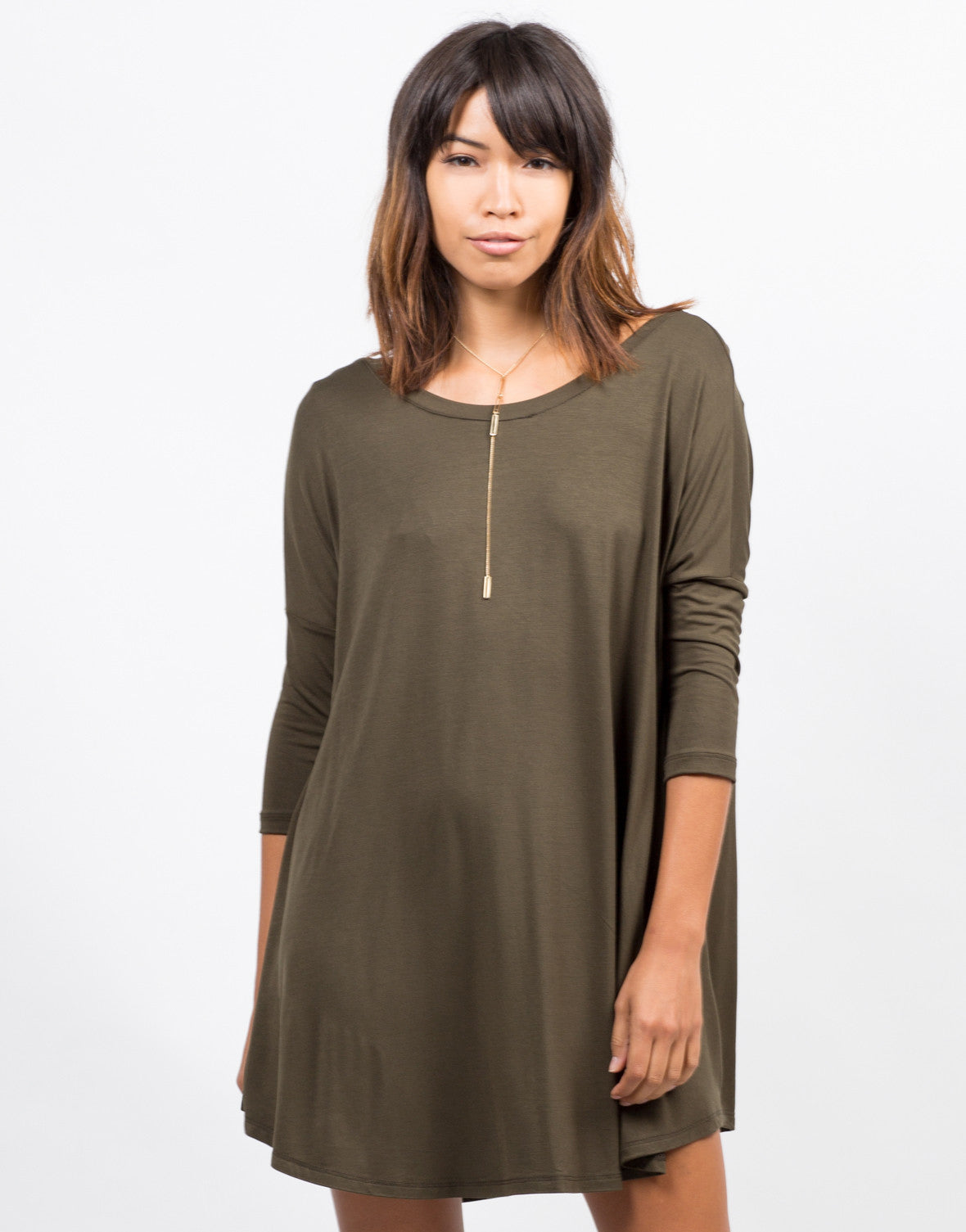 Front View of Oversize T-Shirt Dress