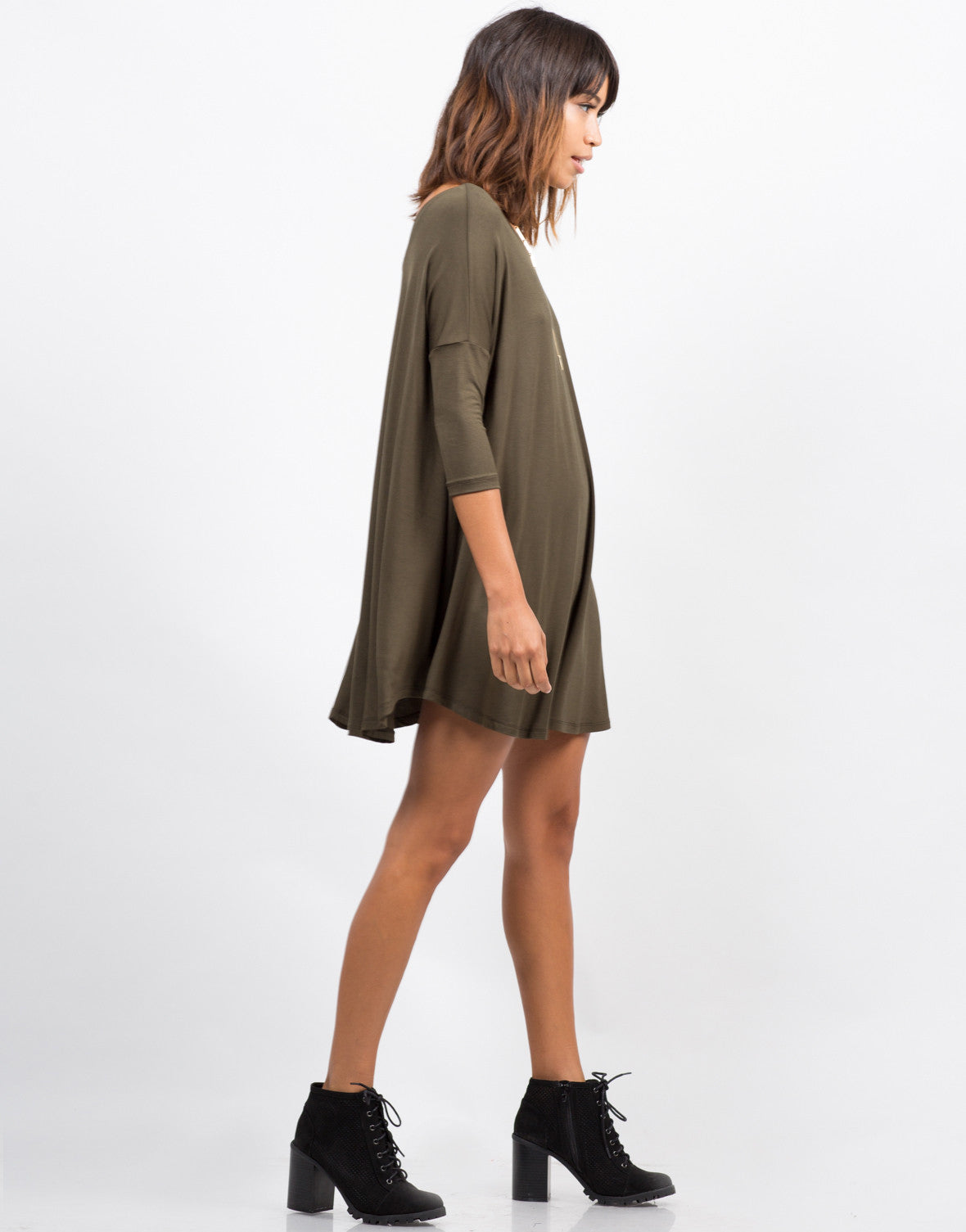 Side View of Oversize T-Shirt Dress