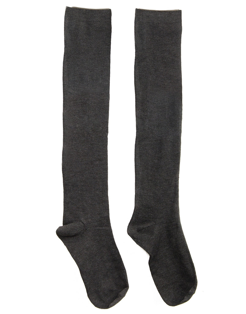 Over-the-Knee Solid Socks - Charcoal - 2020AVE