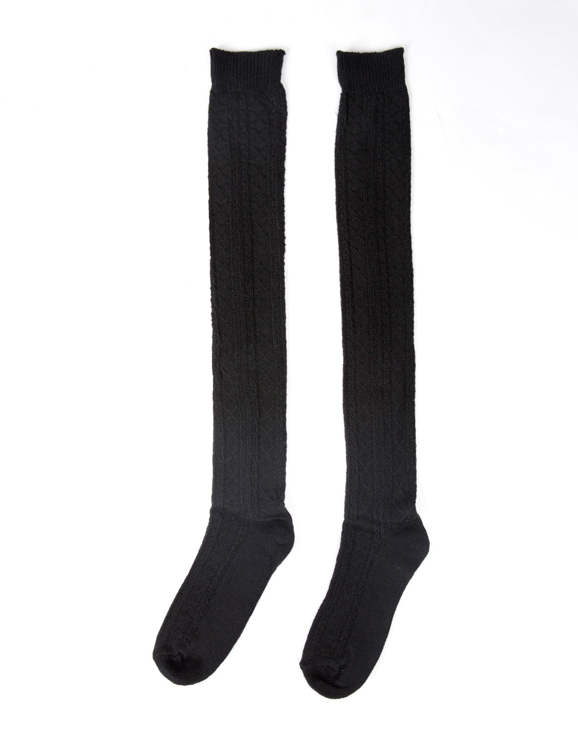 Over-the-Knee Stitch Detailed Socks