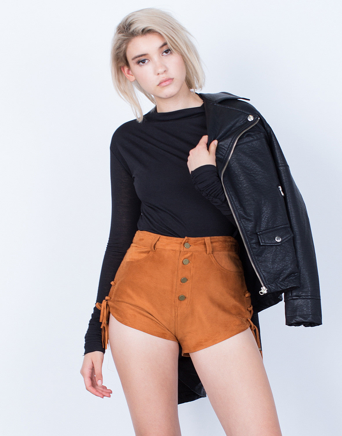 Front View of Own it Side Tied Suede Shorts