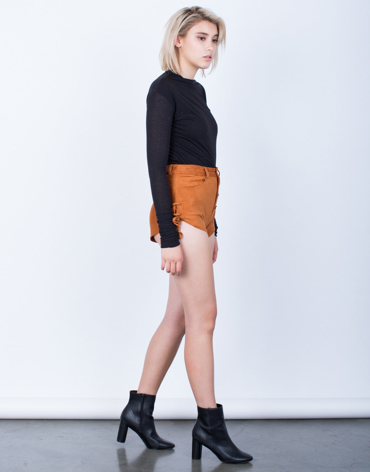 Side View of Own it Side Tied Suede Shorts