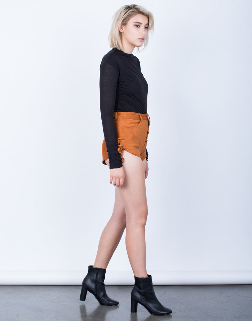 Own it Side Tied Suede Shorts - 2020AVE