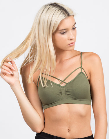 Front View of Padded Cross Strappy Bralette