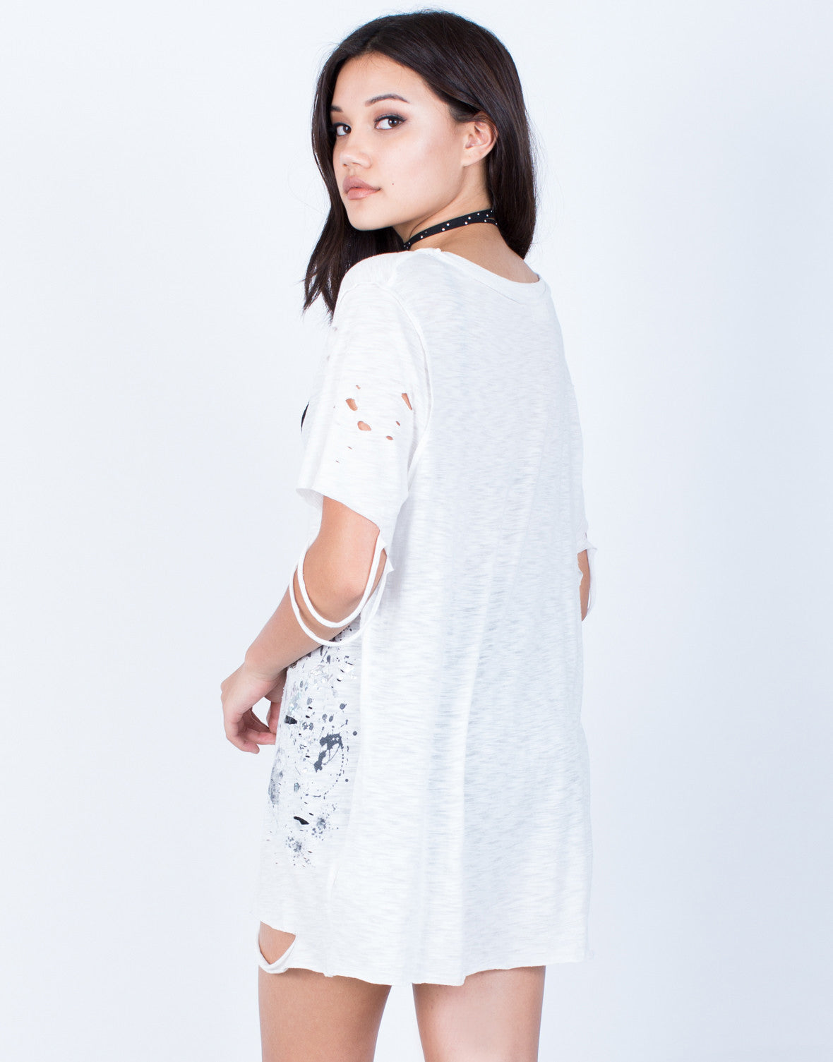 Back View of Paint Splatter Tunic Tee